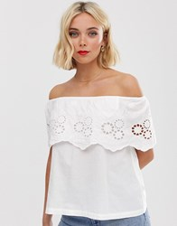 Brave Soul Off Shoulder Top With Broderie Frill Detail White