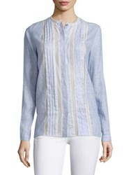 Elie Tahari Buffy Lace Inset Linen Blouse Seabed