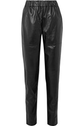 Tibi Tissue Leather Tapered Pants Black