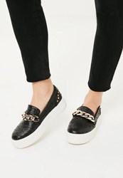 Missguided Black Chunky Chain Studded Flatform Trainers
