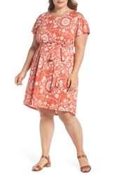 Lucky Brand Plus Size Cold Shoulder Print Belted Dress Rust Multi