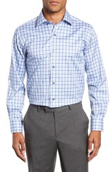 Lorenzo Uomo Trim Fit Check Dress Shirt Light Blue
