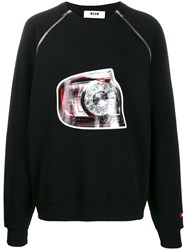 Msgm Lucida Print Zipped Sweater Black