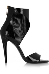 Tamara Mellon Smocking Patent Leather Sandals Black