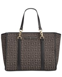 Tommy Hilfiger Emilia Monogram Jacquard Shopper Black Dark Pepper