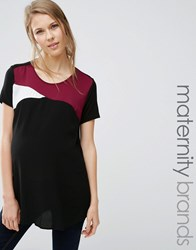 New Look Maternity Satin Colour Block Jersey Back T Shirt Burgandy Red