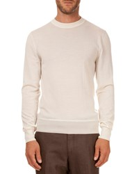 Berluti Leather Shoulder Detail Crew Neck Sweater Ivory