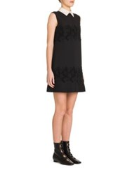Valentino Contrast Collar Lace Inset Shift Dress Black Ivory