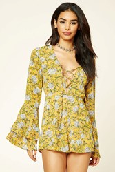 Forever 21 Lace Up Floral Print Romper