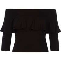 River Island Black Deep Frill Fitted Bardot Crop Top
