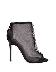 Badgley Mischka Rana Jeweled Mesh Ankle Boots Black