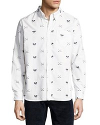 Jachs Ny Sports Print Long Sleeve Shirt White
