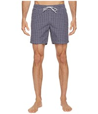 Lacoste All Over Print Swim Medium Length Navy Blue White Men's Swimwear