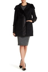 Dkny Hooded Faux Fur Wool Blend Coat Black