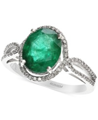 Effy Collection Brasilica By Effy Emerald 2 1 8 Ct. T.W. And Diamond 1 4 Ct. T.W. Oval Ring In 14K White Gold Green