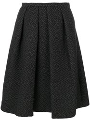 Paul Smith Ps By Full Pleated Skirt Silk Cotton Acrylic Wool Black