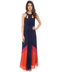 Adelyn Rae Color Block Maxi Dress Navy Women's Dress