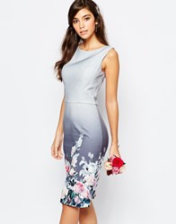 Chi Chi London Midi Pencil Dress In Sateen In Floral Print Multi
