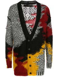 Isabel Benenato Distressed Effect Mid Length Cardigan Black