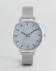 Asos Design Holographic Glitter Mesh Watch Silver