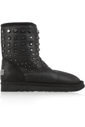 Mou Cowboy Studded Coated Shearling Boots