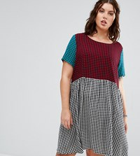 Alice And You Contrast Gingham Print Skater Dress Multi