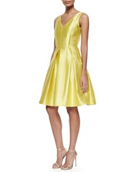 Carmen Marc Valvo Sleeveless Pleated Textured Party Dress Size 16 Yellow Lemon