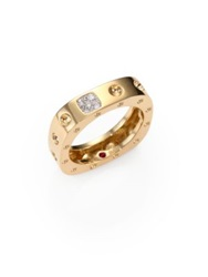 Roberto Coin Pois Moi Diamond And 18K Yellow Gold Single Row Square Ring