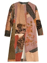 By Walid Collarless Chinese Patchwork Silk Coat Multi