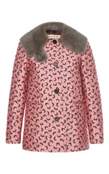 Marni Graphic Jacket With Fur Collar Pink