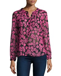 Milly Brooke Floral Print Chiffon Blouse Pink