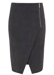 Mint Velvet Granite Suede Zip Pencil Skirt Grey