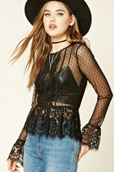 Forever 21 Sheer Polka Dot Floral Lace Top