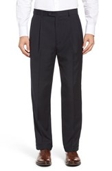 Linea Naturale Men's Big And Tall Pleated Microfiber Dress Pants Navy