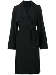 Helmut Lang Belted Mid Length Trench Coat Women Silk Acetate Viscose S Black