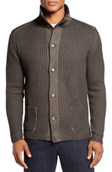Lanai Collection Men's Garment Dyed Cable Knit Cardigan Olive