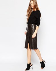 Just Female Jenna Leather Wrap Skirt Brown