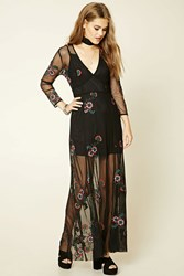 Forever 21 Embroidered Mesh Maxi Dress Black Red