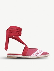 J.W.Anderson Logo Detail Cotton And Suede Espadrilles Red