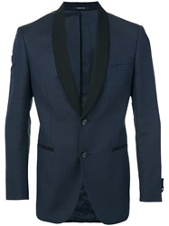 Tonello Contrasting Lapel Blazer Men Cotton Cupro Virgin Wool 50 Blue