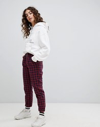 Daisy Street Slim Fit Trousers With Ring Pull In Tartan Red