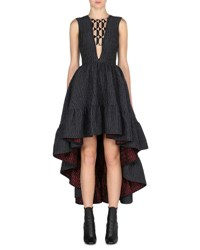 Fendi Sleeveless High Low Jacquard Gown Black