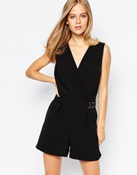 Lost Ink Tuxedo Playsuit Black