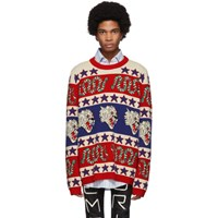Gucci Blue And Red Jacquard Symbols Sweater
