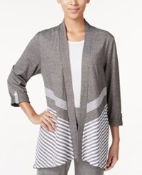 Alfred Dunner Petite Acadia Striped Open Front Cardigan Grey