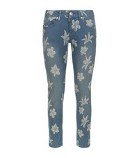 Escada Sport Jacquard Floral Cropped Skinny Jeggings Female Blue