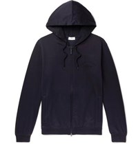 Brioni Fleece Back Stretch Cotton And Cashmere Blend Jersey Zip Up Hoodie Navy