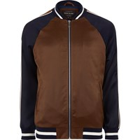 River Island Mens Brown Two Tone Light Bomber Jacket