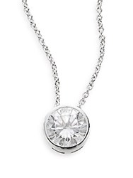 Saks Fifth Avenue Martini White Stone Necklace Silver