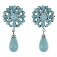 Eclectica Vintage 1970S Avon Chrome Plated Glass Cabochon Clip On Drop Earrings Turquoise Silver
